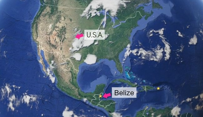 Map showing Belize's location in relation to the United States