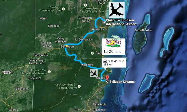 Map showing how to get to Hopkins Belize & Belizean Dreams