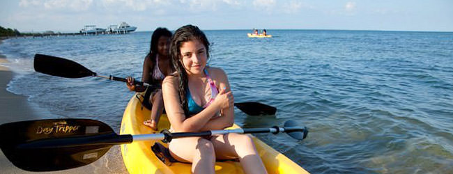 Kayaking at Belizean Dreams Beach Resort in Hopkins, Belize.