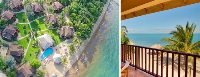The view of Belizean Dreams beach resort in Hopkins, Belize.